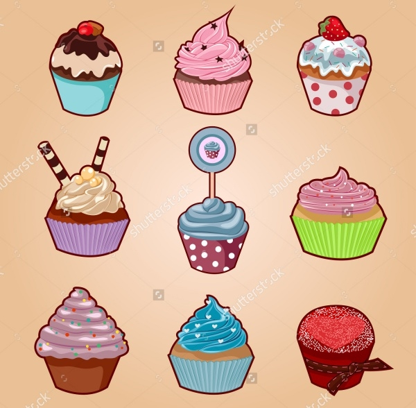 Cartoon Style Cupcake Vector
