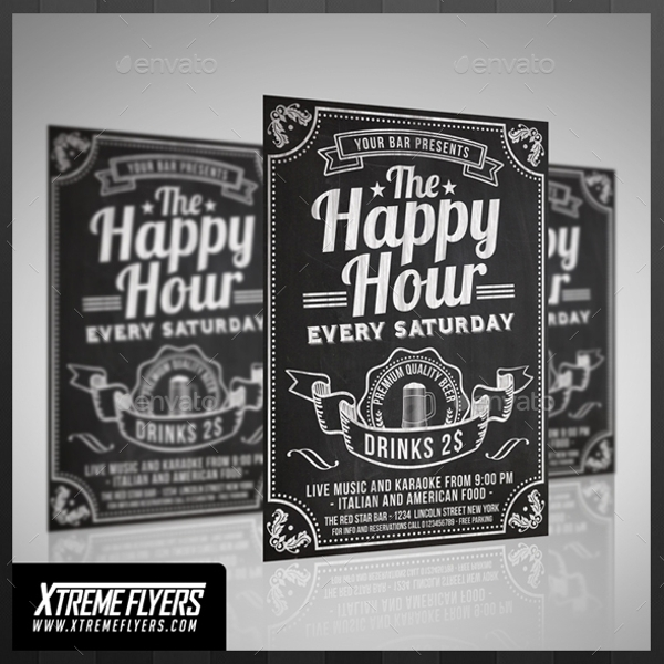 Chalkboard Happy Hour Flyer