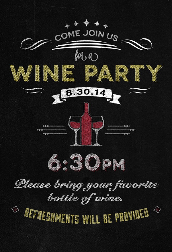 Chalkboard Wine Party Flyer Invitation