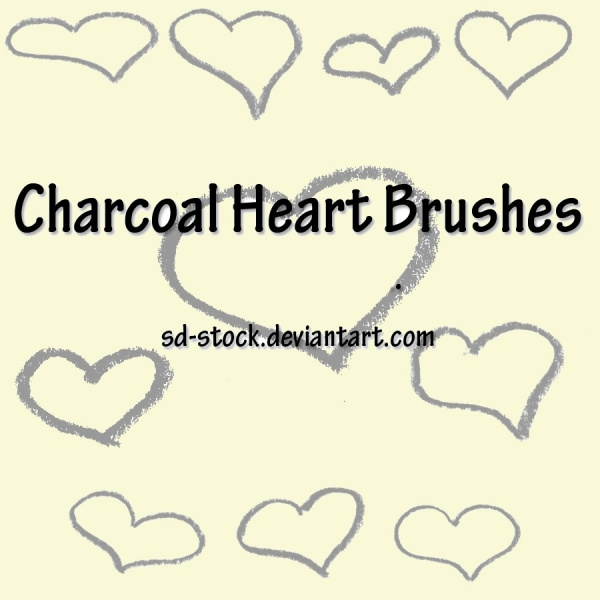 Charcoal Heart Brushes