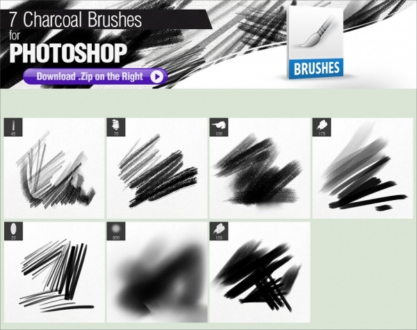 Charcoal Photoshop Brush Set