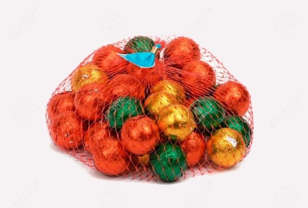 Chocolate Balls Wrapped In Mesh Bag