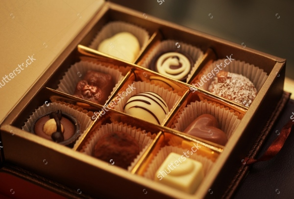 chocolate candies in box packaging