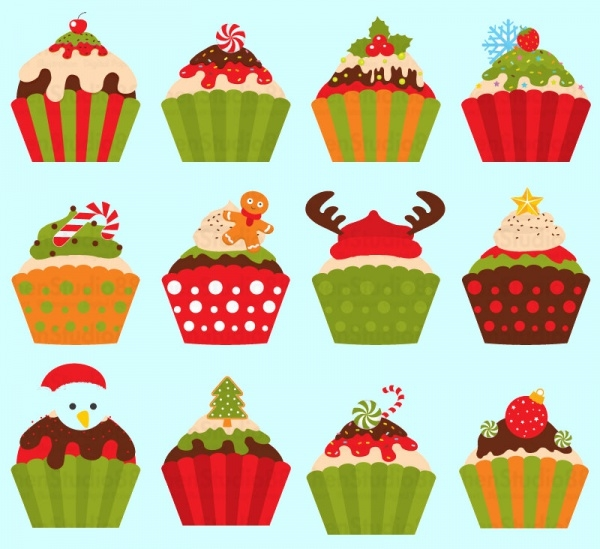 Christmas Cupcake Vector Download