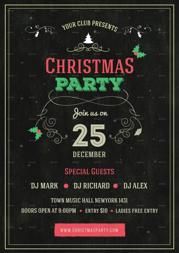 Christmas Party Chalkboard Flyer