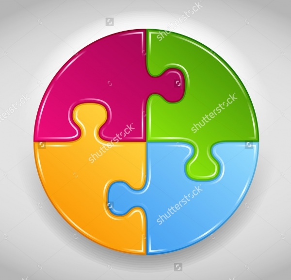Circle Made of Puzzle Pieces Vector