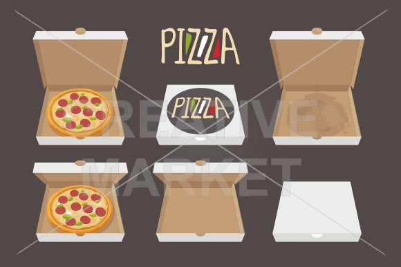 Closed Opened Pizza Packaging Design