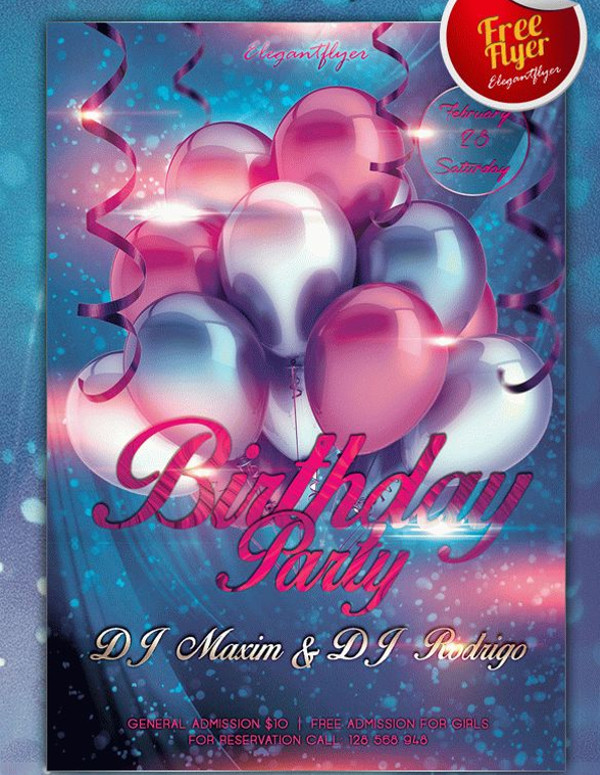 Club and Birthday Party Free Flyer