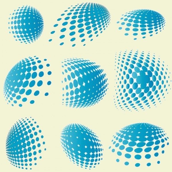 Collection of Warped Halftone Vector