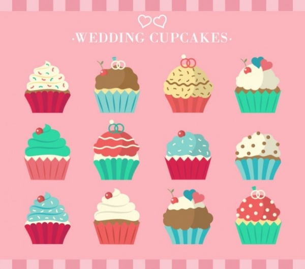 Collection of Wedding Cupcakes Vector