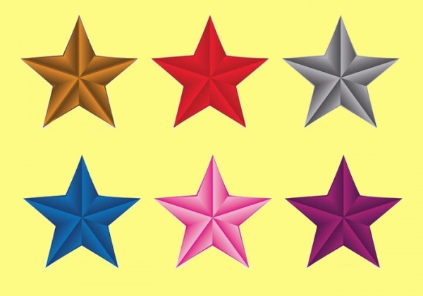 Colorful 3D Vector Stars Icons