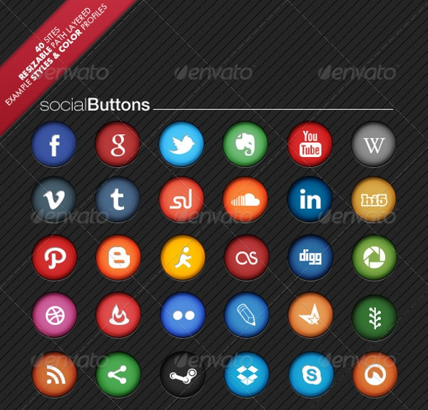 Colorful Delicious Social Network Buttons