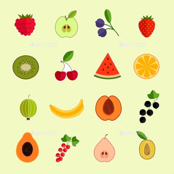 Colorful Fruit Icon Set