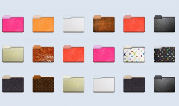 Colorful Leather Folder Icons
