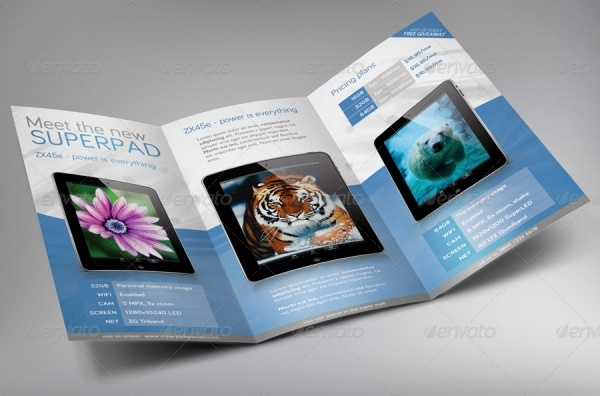 commercial trifold pack brochure template
