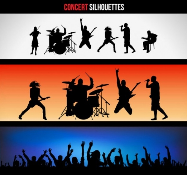 Concert Silhouettes Banners Set