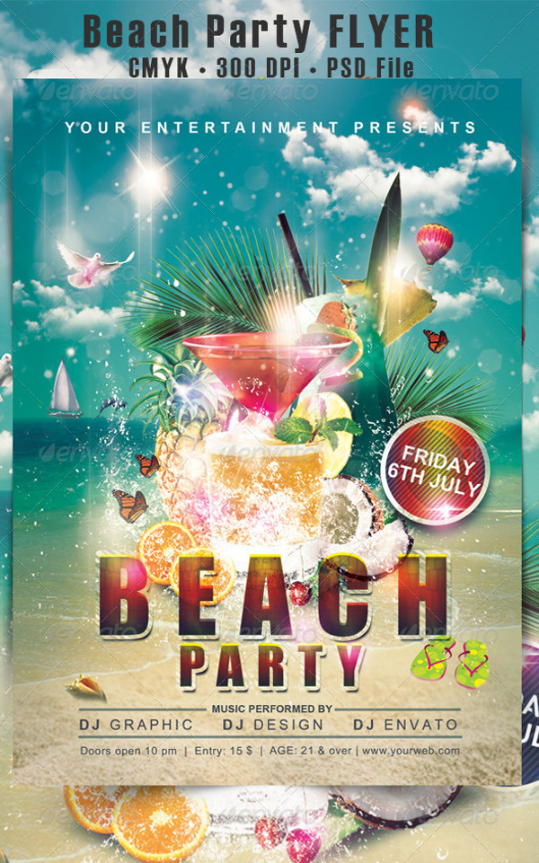Cool Beach Party Flyer Template