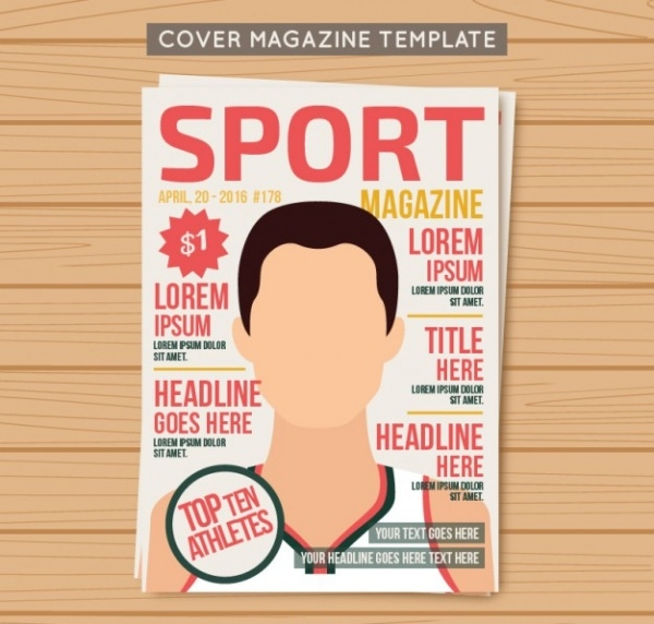 Cover Sport Magazine Template Blank Design