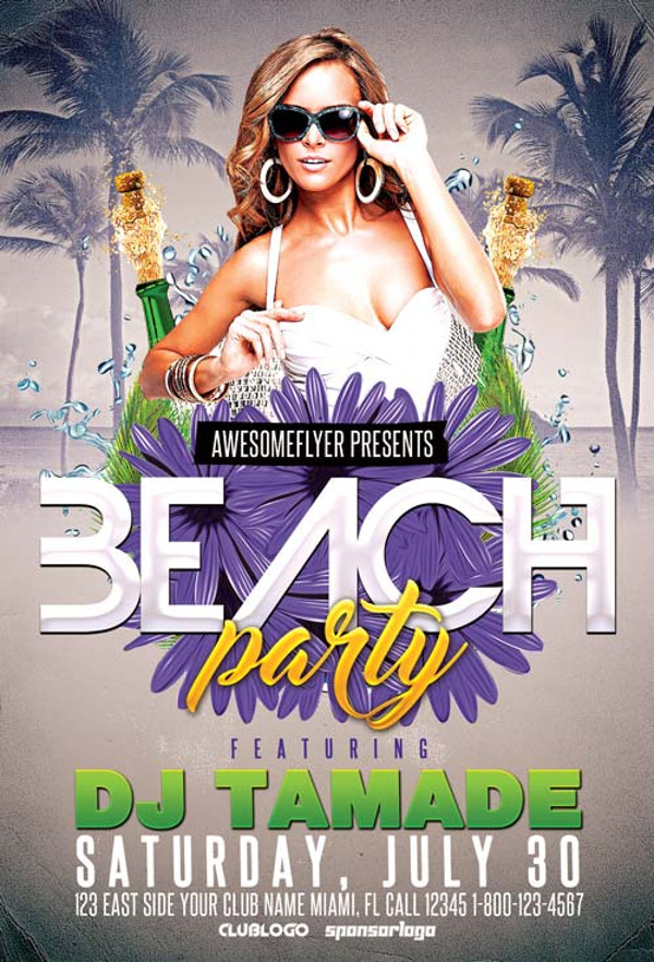 Creative Beach Party Flyer Design