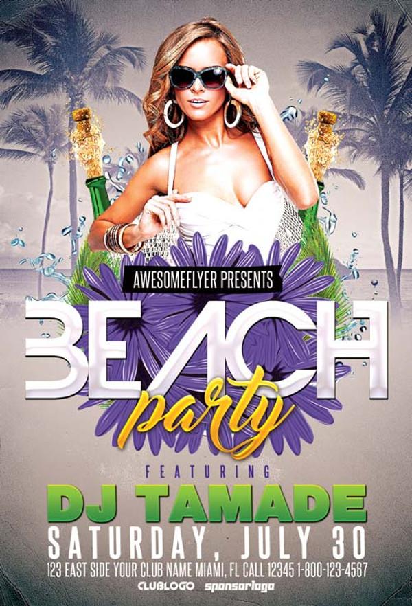 Creative Beach Party Flyer Design