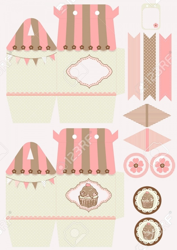 Cupcake Box Die Cut Packaging Design