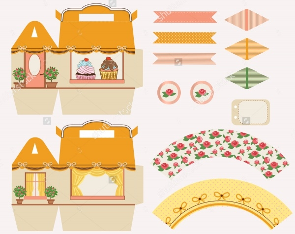 Cupcake Box Packaging Designer Template