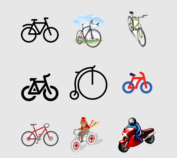 Dark Shaded Bike Icons