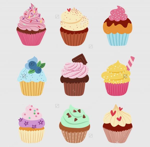 Delicious Cupcake Vector Set