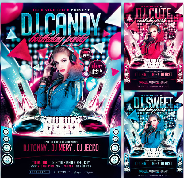 Dj Birthday Invitation Flyer