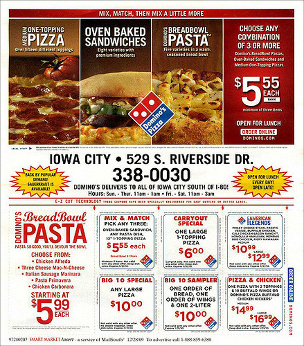 Dominos' Pizza - Mail Flyer