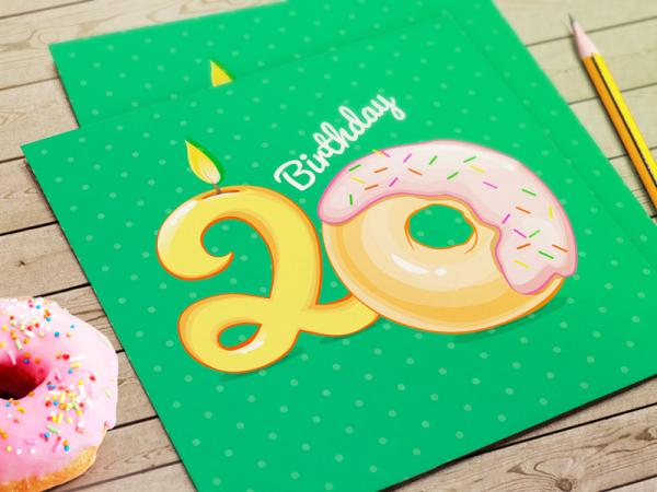 Donut Green Birthday Card
