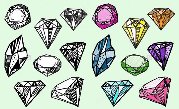 Doodle Design Diamond Vectors