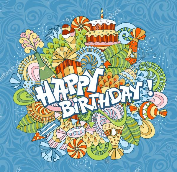 Doodle Style Birthday Vector