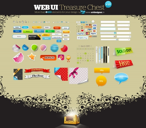 Download Web UI Treasure Buttons