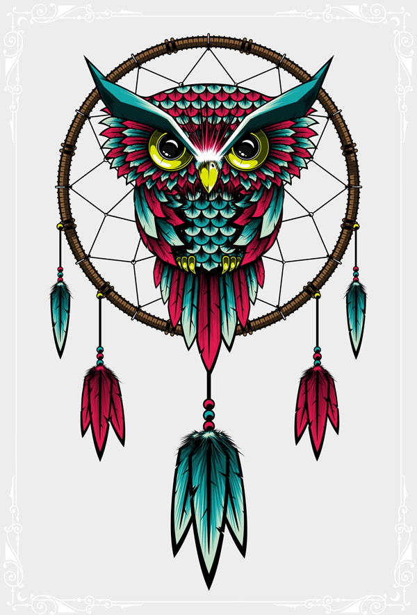 Dream-catcher Owl Illustration For desktop