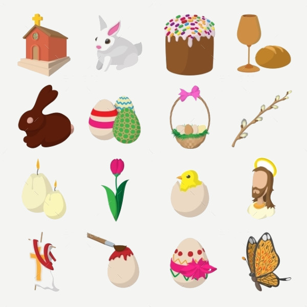 Easter Cartoon Traditional Icons
