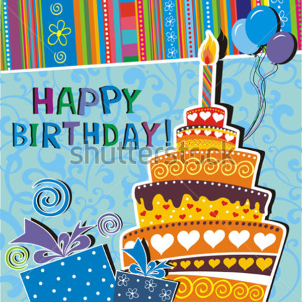 Editable Vector Birthday Card Design
