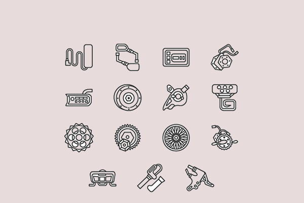 electric bike parts vector icon