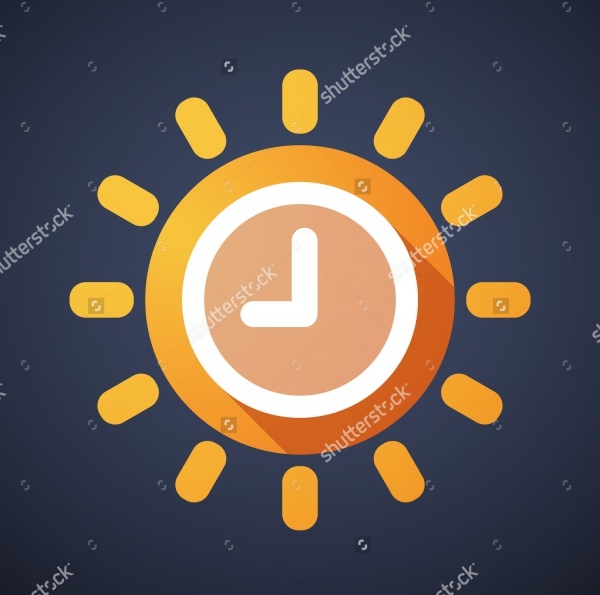 Elegant Clock Sun Illustration