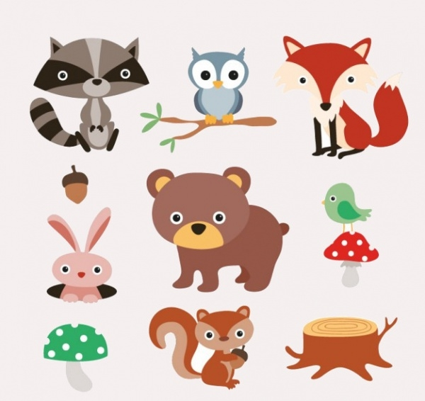 Elegant Forest Animals Vector