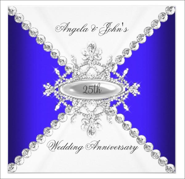 Elegant Royal Blue White Wedding Invitation 1