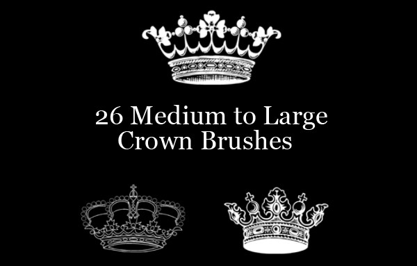 Elegant Vector Crown Brushes