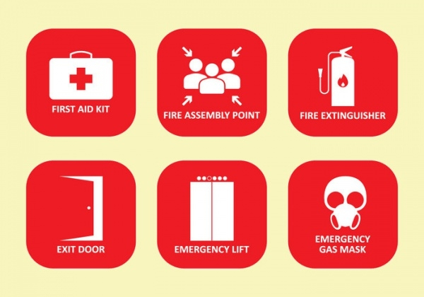 Emergency Safety Sign Icons
