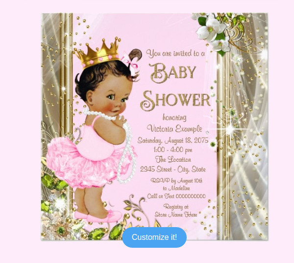Ethnic Princess Gold Baby Shower Card