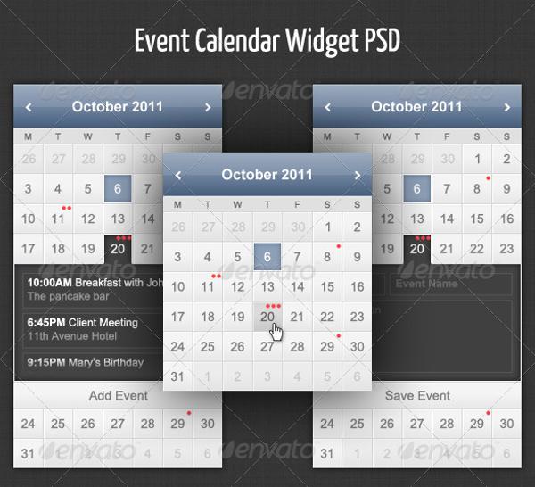 Event PSD Calendar Design