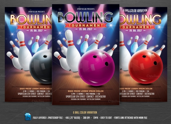 exclusive photoshop bowling psd flyer
