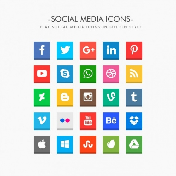 Flat Delicious Social Media Buttons