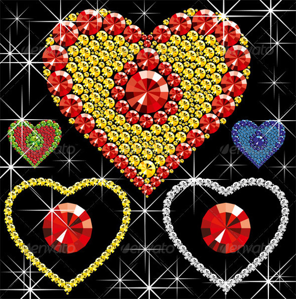 Flat Design Diamond Vector Hearts