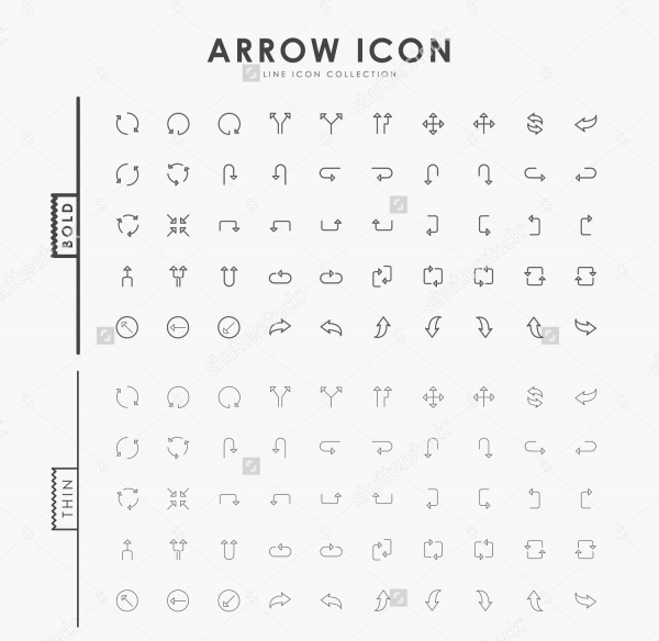 Flat Minimal Arrow Icons