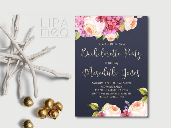 Floral Navy Bachelorette Party Invitation